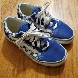 Vans Boys Size 2 Off The Wall Blue Checkerboard